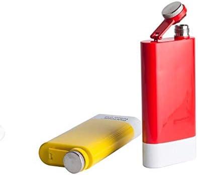 Petacas De Alcohol Mini 5 oz de acero inoxidable 304 Hip Wisky Frasco de bolsillo portátil Botella Pinkycolor Flagon licor de whisky con embudo for el regalo de las mujeres Petacas (Color : Yellow)