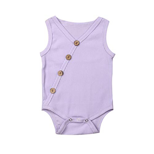 Shusuen Newborn Baby Boys Girls Romper Sleeveless Outfit Summer Button Casual Clothes Bodysuit