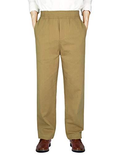 IDEALSANXUN Men's Casual Relaxed Fit Elastic Waist Twill Pant (Dark Khaki(Twill), 32)