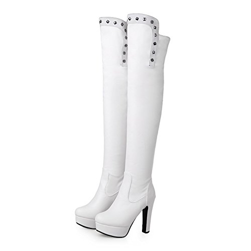 High Boots Pu High Heels Solid Top White On Pull AmoonyFashion Women's qSwBzZtT