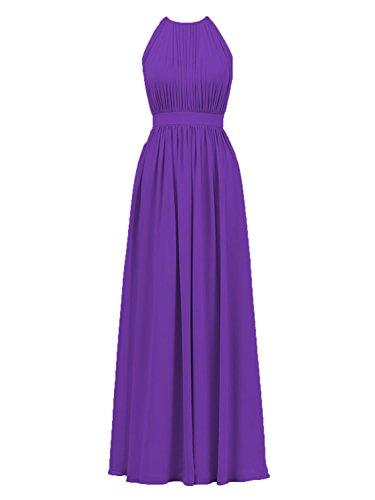 (Cdress Women's Chiffon Long Bridesmaid Dresses Halter Prom Dress Maxi Evening Formal Gowns US 24W)