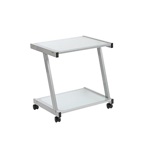 Euro Style L Frosted Glass Top Mobile Printer Cart, Aluminum Steel Frame