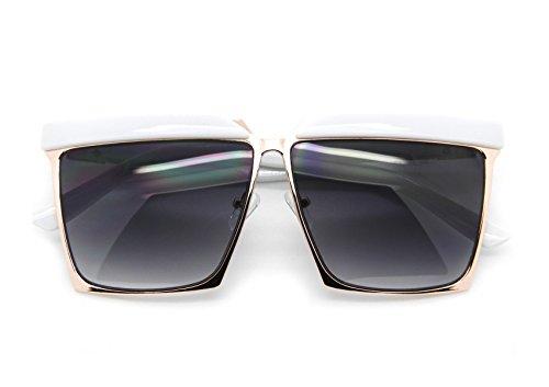 Generic Designer Inspired Oversized Sunglasses Smoked Lens Square Frame Women Fashion (White, - Generic Sunglasses