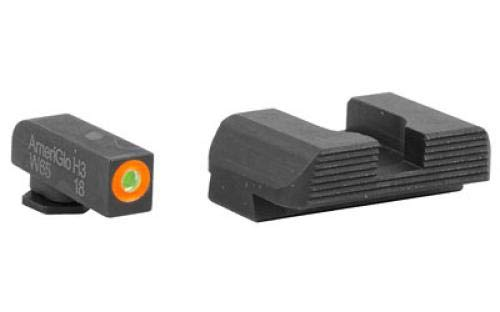 Green Front Night Sight - AmeriGlo GL-436 Hackathorn Sight Set for Glock 42/43, Green/Orange