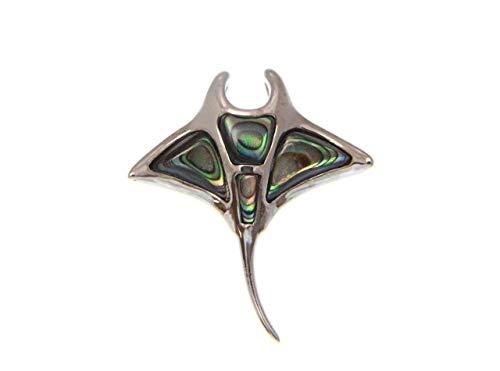 925 sterling silver Hawaiian manta ray abalone paua shell slider pendant