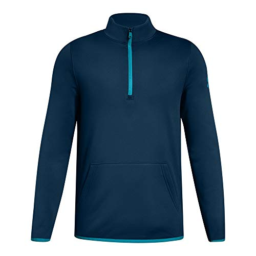 Under Armour Boys Armour Fleece 1/2 Zip, Techno Teal (489)/Deceit, Youth Large