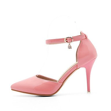 LvYuan Mujer-Tacón Stiletto-Confort-Sandalias-Oficina y Trabajo Vestido Informal-Semicuero-Rosa Rojo Blanco Almendra White