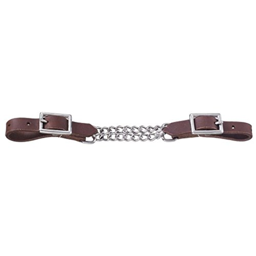 Leather Curb Chain (Tough-1 Harness Leather Double Chain Curb Horse Tack Equine 52-4083)