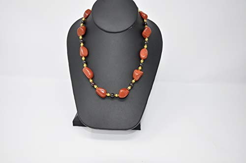 Red Jasper Nuggets and Freshwater Pearls Hand Beaded with Ghana Ceramic Beads Single Strand Necklace by TreAssure Design