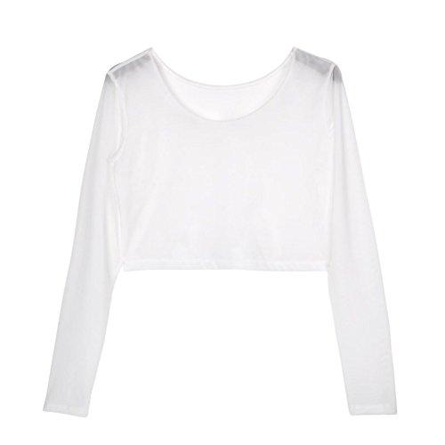 Mesh White Long Sleeve Top (Weixinbuy Women Sheer Mesh Crop Long Sleeve Shirt White)