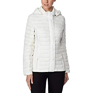Degrees White Ultra Light Down Packable Hooded Puffer Coat S