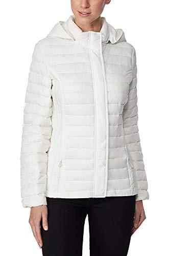 Degrees White Ultra Light Down Packable Hooded Puffer Coat S]()