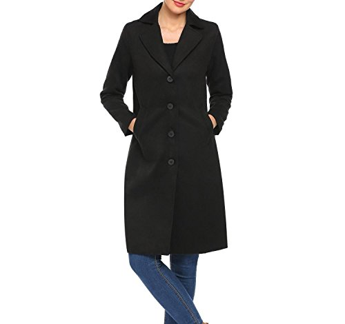 Soteer Women Lapel Button Down Knee Length Winter Long Trench Coat,Black,X-Large Button Down Trench Coat