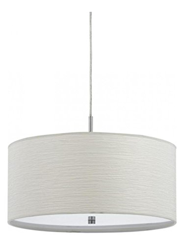 Casual White Nianda 2 Light Pendant with Fabric Shade - 2 Lite Pendant