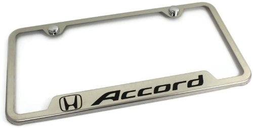 Au-Tomotive Gold, INC. DanteGTS Honda Accord Stainless Steel License Plate Frame Engraved Chrome Made in USA Frame Mirror Bright Chrome - Reveals State Stickers ()