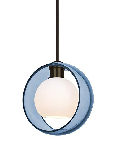 Besa Lighting 1TT-MANABL-BR Mana - One Light Stem Pendant with Flat Canopy, Bronze Finish with Blue/Opal Glass (Light Pendant 1 Br Stem)
