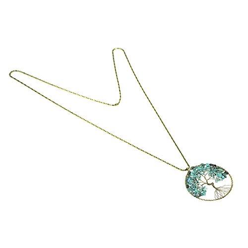 Pierre Arbre Laiton Vie Collier Imitation Perles Turquoise Long Aeravida Éternelle De g7TXqTxZ