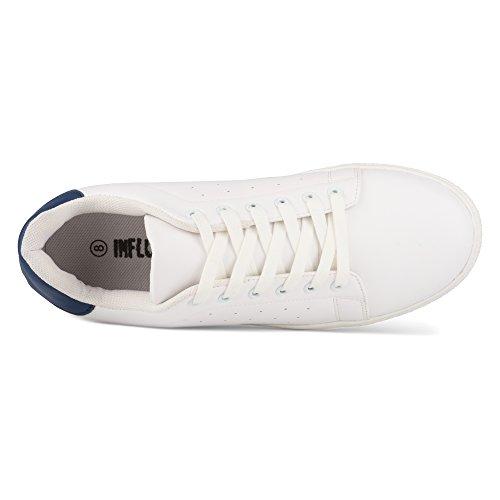 Influenza Mens Steve Casual Allacciatura Tennis Allenatore Sneaker Blu / Bianco