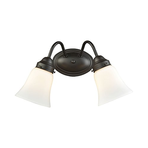 Elk Lighting CN570211 Califon 2-Light for The Bath in Oil Rubbed Bronze with White Glass Vanity Wall Sconce ()