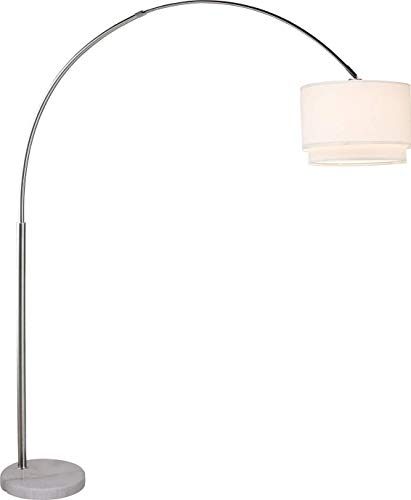 Major-Q Brush Steel Arching Floor Lamp with White Real Marble Base - Features Large White Double Drum Style Shade - 81