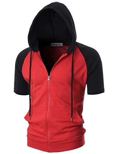 OHOO Mens Slim Fit Short Sleeve Lightweight Raglan Zip-up Hoodie with Kanga Pocket/DCF077-RED/BLACK-M -