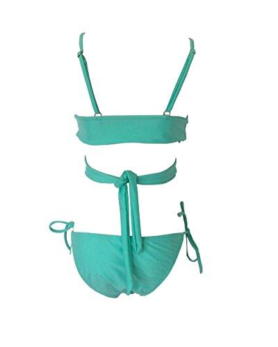 Halter Pea Bagno Bikini Side Tie Due Giovanile Colore Da Avvolgere Moollyfox Moda Verde Costumi Pezzi Solido C6tqwfxO