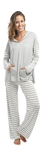 jijamas Incredibly Soft Pima Cotton Women's Pajama Set ''The Hoodie Set'' In Heather Grey by jijamas