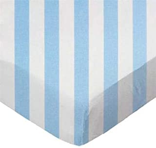 product image for SheetWorld 100% Cotton Percale Fitted Crib Toddler Sheet 28 x 52, Blue Stripe, Made in USA
