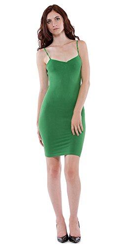 YUMMYSHELF Cami Tank Top - Seamless Camisole - Long Tank Top - Cami Dress (Small - Medium, Kelly Green)