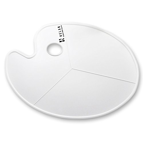 Large Oval Shaped White Plastic Palette, 11.75' x 16.5', Non-Stick for Acrylic, Watercolor, Oil and Gouache Paint