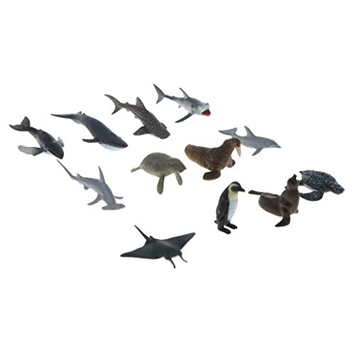 - SM SunniMix Toys Ocean Sea Animal, 12-Pack Assorted Mini Plastic Animal Set, Realistic Sea Life Figure Toy for Kids Party Favors Cake Cupcake Topper