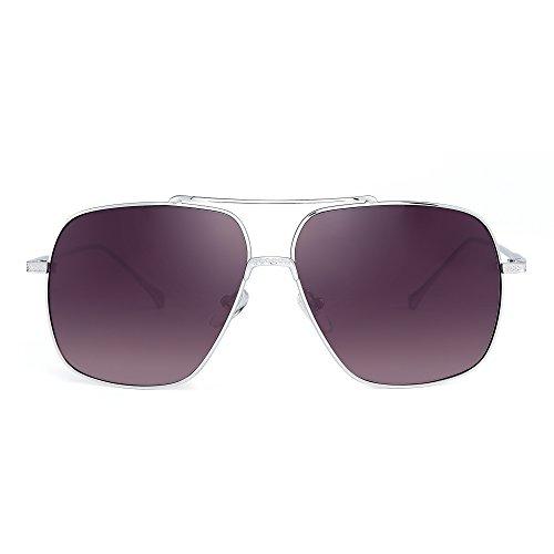 Oversize Aviator Sunglasses Gradient Clear Lens Pilot Metal Eyeglasses Men Women (Silver/Grey)