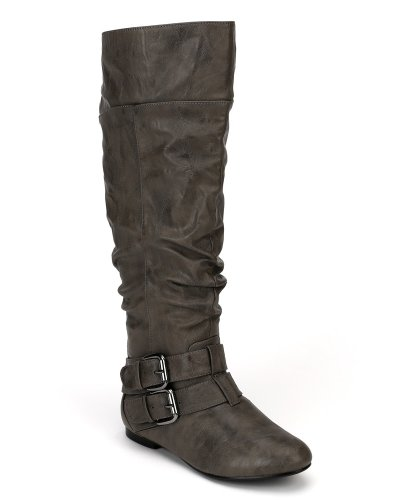 Nature Breeze Vickie-20 Leatherette Buckle Slouchy Knee High Flat Boot AE88 - Grey (Size: 5.5)