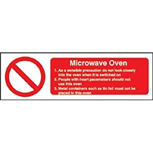 Microwave Oven Safety Sign Notice 100 X 300 Mm Self