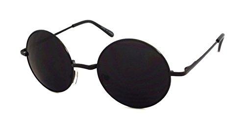 John Lennon Style Vintage Retro Large Round Metal Men Women Sunglasses (Black... (Large Lennon Style Sunglasses)