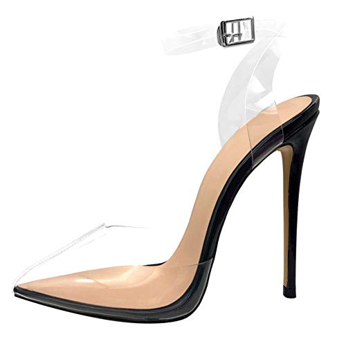 Cdvintu Women Pointed Toe Transparent High Heels Lucite Clear Dress Sandals Ankle Strappy Bukle Stilettos (5, Black)