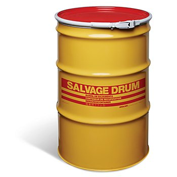New Pig DRM842 Quick-Style Open-Head UN Rated Unlined Steel Salvage Drum, 55 Gallon Storage Capacity, 23.06'' Diameter x 34-3/4'' Height, Yellow