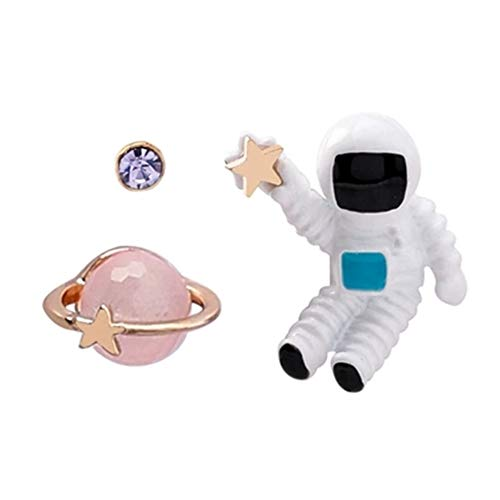 - Vigoner Funny Asymmetric Space Astronaut Design Alloy Stud Earrings for Women Girls Pink
