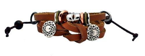 Unisex Charm Beads Hawaiian Surfer Style PU Leather Bracelert Wristband (Brass and Silver (Style Brass Beads)