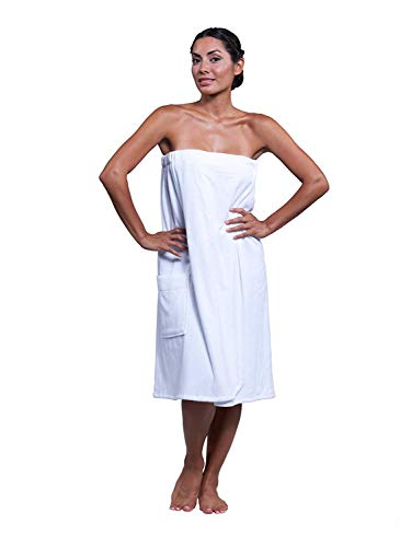 (Boca Terry Womens Spa Wrap - 100% Cotton Spa, Shower, Bath and Gym Towel w Snaps - White XXL)