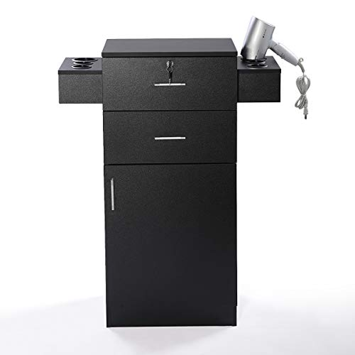 Beauty Salon Storage Cabinet Stylist Equipment 3-Layer Station w/Lock & Bilateral Hair Dryer Holder Black