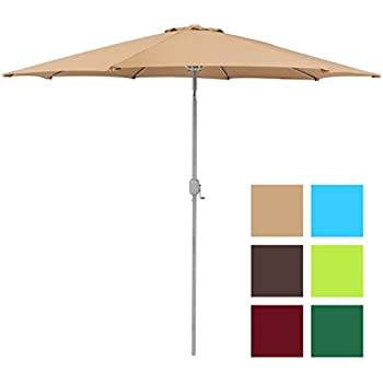 Best Choice Products Patio Umbrella 9u0027 Aluminum Patio Market Umbrella Tilt  W/ Crank Outdoor