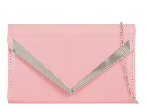 Prom Bridal Chain Patent Arrow Trim Purse Ladies Leather Pink New Bag Clutch Strap Xwfxq0Hn8