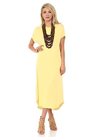 iconic luxe Women's A-Line Short Sleeve Midi Dress Small Banana