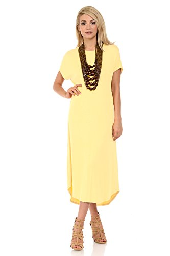 iconic luxe Women's A-Line Short Sleeve Midi Dress Medium Banana
