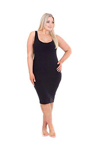 Sonsee Womens Plus Size Slip - Black Sleeveless Slips for Wearing Under Dresses