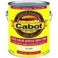 Cabot 31275 Solid Color Acrylic Decking Stain Acrylic Exterior White Opaque, 1 gallon