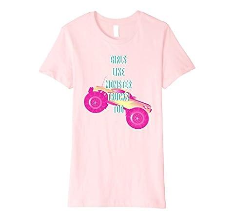 Womens Girls Monster Truck Shirt for Girls Women Monster Truck Fan XL Pink - Monster Racing Jersey