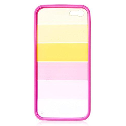 Regenbogen farbig Transparente Hartschale Back Cover für iPhone 5& 5S–Pink