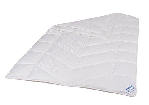 Traumnacht 03831440140 5-Star 4-Jahreszeiten, teilbare Bettdecke aus reinem Baumwolle-Satin, 135 x 200 cm, waschbar, weiß